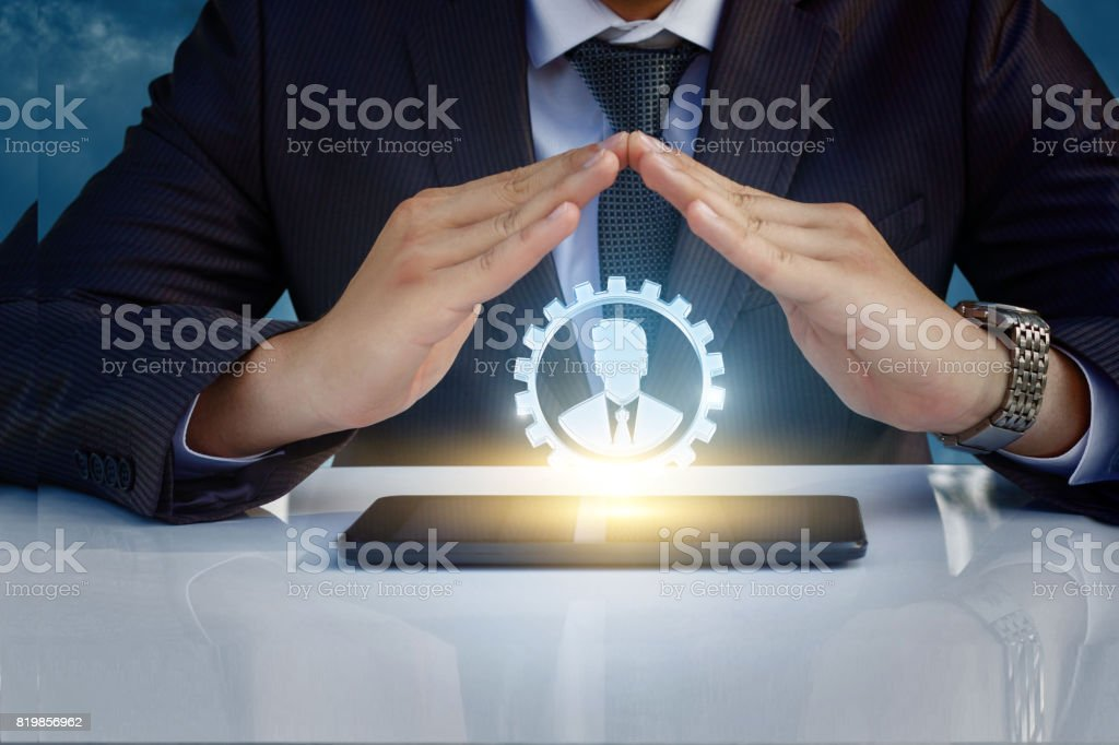 The protective gesture with your hands good worker. stock photo