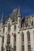 The Provinciaal Hof (Province Court) is a Neogothical building on the market place in Bruges (Belgium). Vertically.