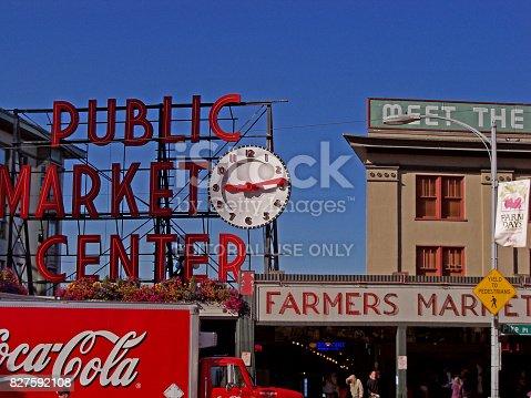 Seattle, Washington, USA - August 23, 2010: The Public Market Center also known worldwide as Pike Place Market in Seattle, Washington.