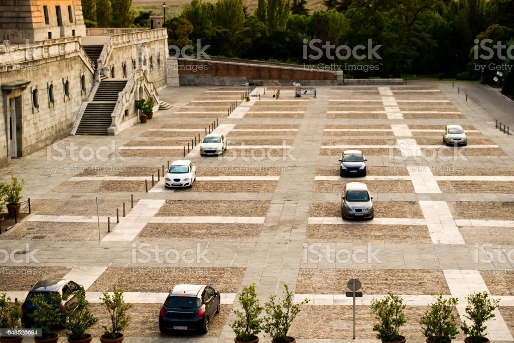 The public parking before Escorial. stock photo