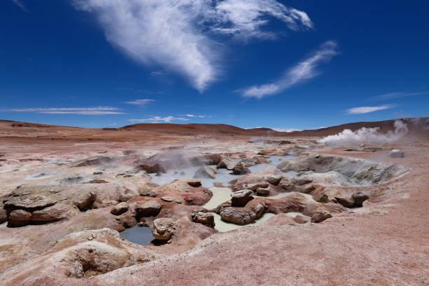 Die Pfützen des kochenden Schlamms der Sol de Maéana Geysirs, Bolivien – Foto