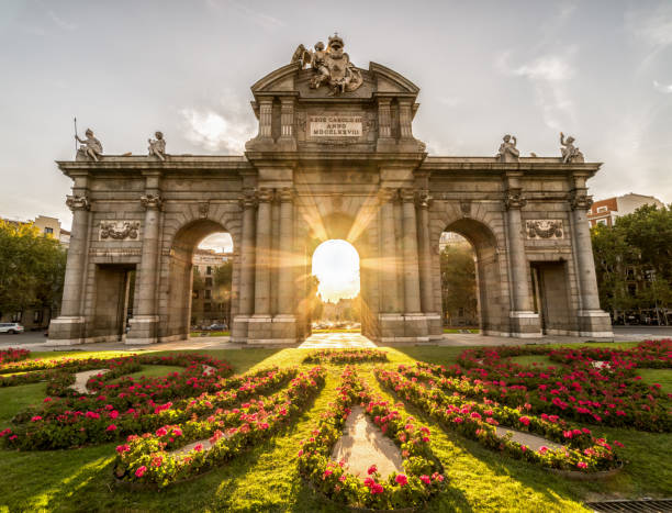The Puerta de Alcala sunset, arch landmark in Madrid Spain stock photo