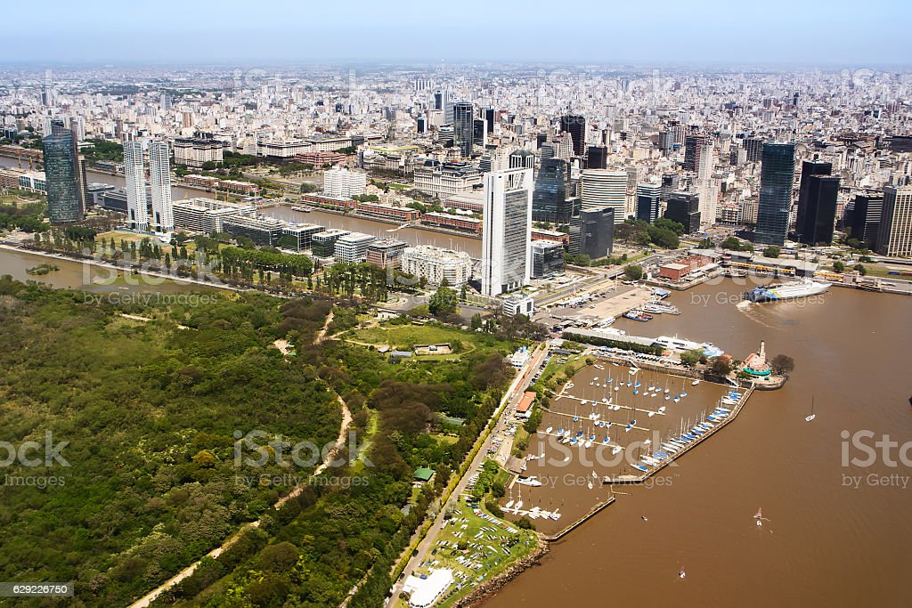 The Puerto Madero neighborhood of Buenos Aires view from aerial stock photo
