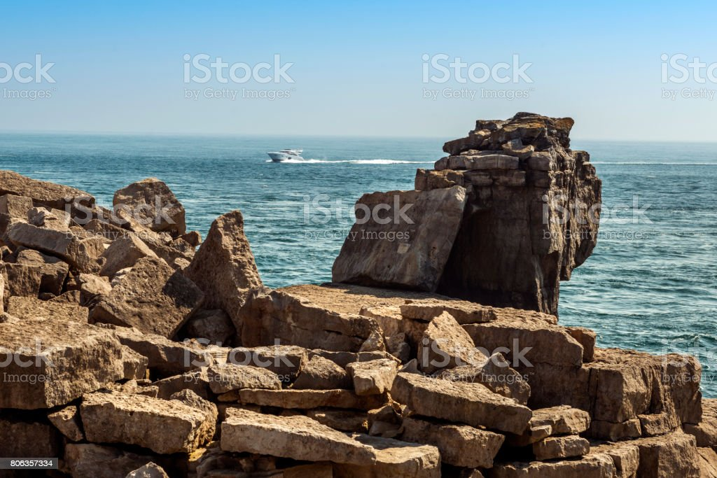 The Pulpit Rock - Blue skies and calm seas. stock photo