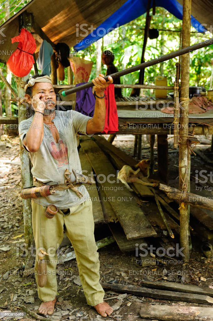 The Punam nomad from the Borneo island in Indonesia stock photo