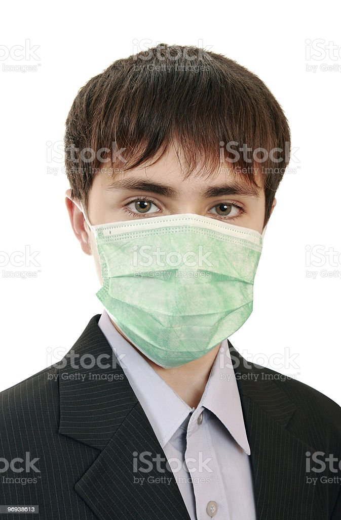 The pupil in a medical mask royalty-free stock photo