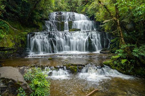 The Purakaunui Falls In The Catlins Region South Island New Zealand Stock  Photo - Download Image Now - iStock