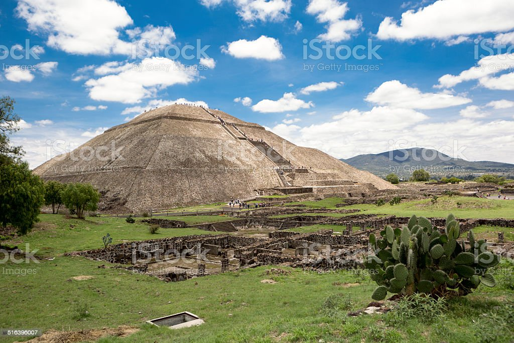 the pyramid of the Sun in Teotihuacan stock photo