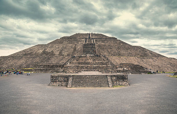 The Pyramid of the Sun, Teotihuacan. stock photo