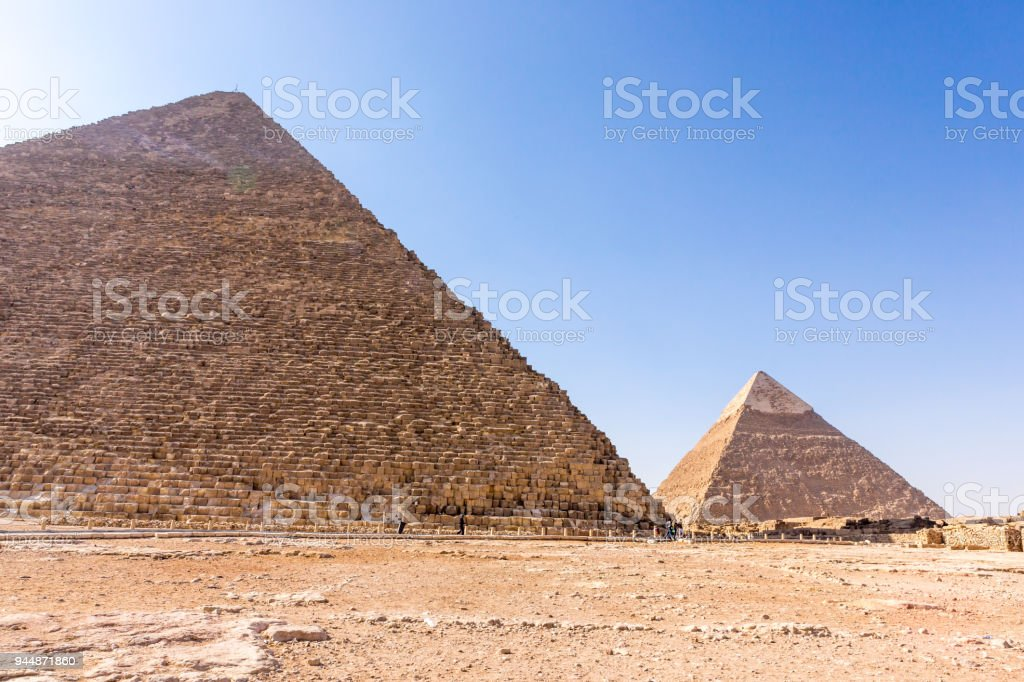 The pyramids at Giza in Egypt stock photo