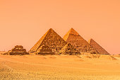 The pyramids of Giza, Cairo, Egypt. Oldest of the Seven Wonders of the Ancient World and the only one to remain largely intact