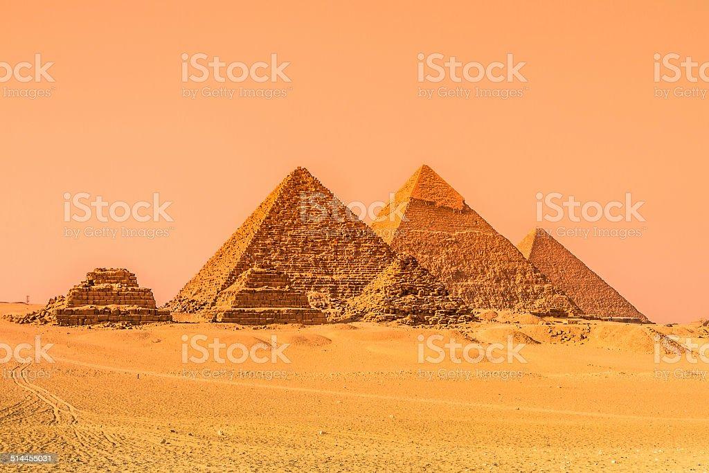 The pyramids of Giza, Cairo, Egypt. stock photo