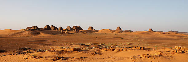 the pyramids of meroe, sudan - sudan stock photos and pictures