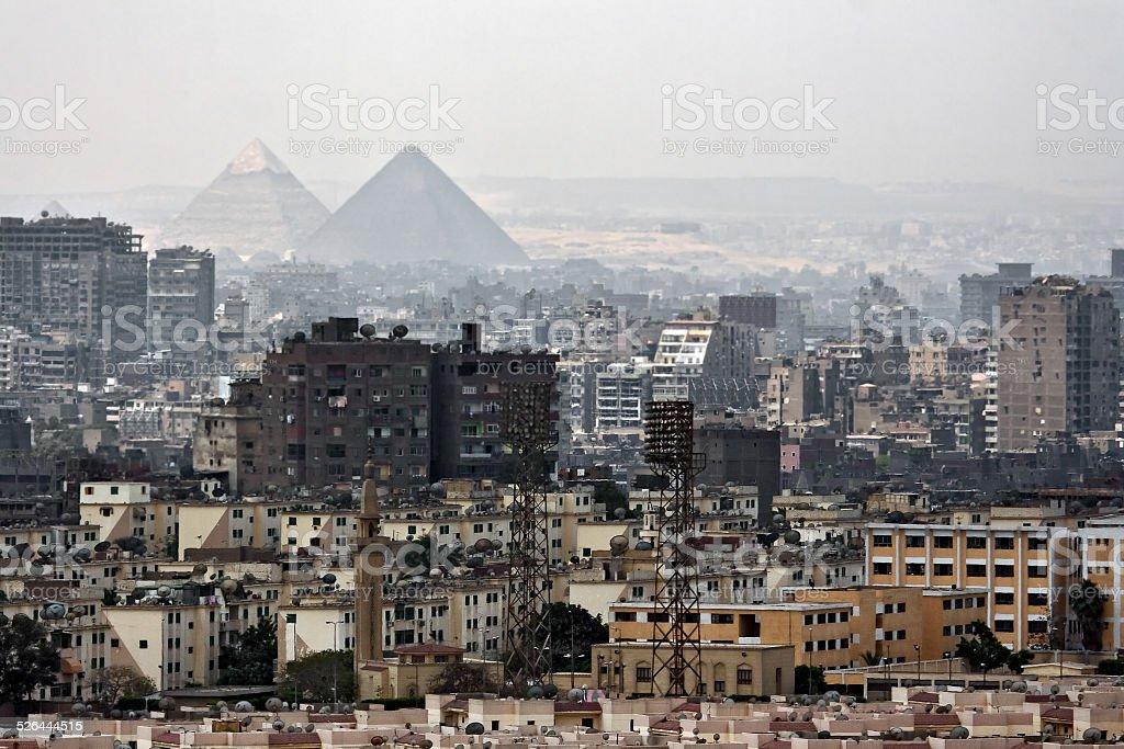 The Pyramids over Cairo stock photo