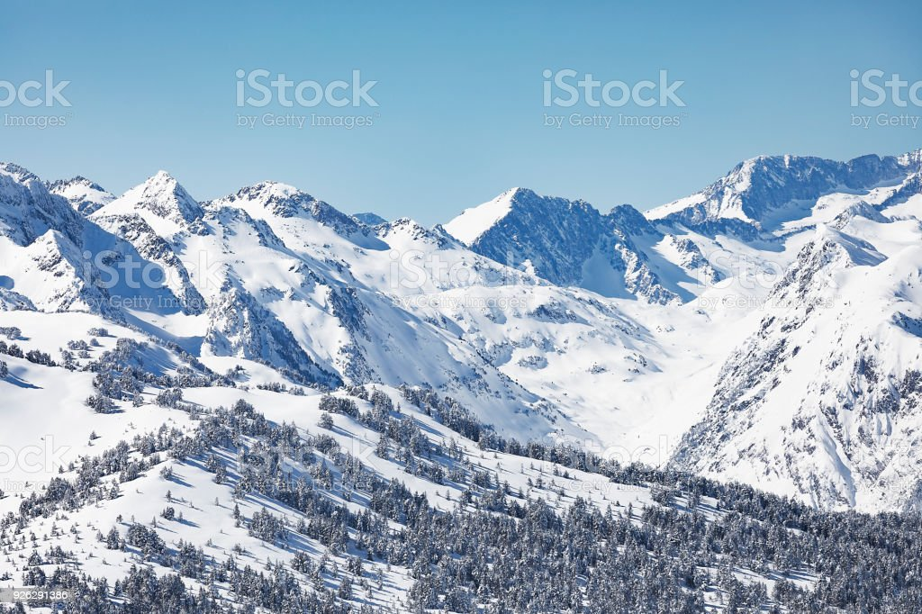 The Pyrenees mountains in winter in Val d Aran Catalonia Spain stock photo