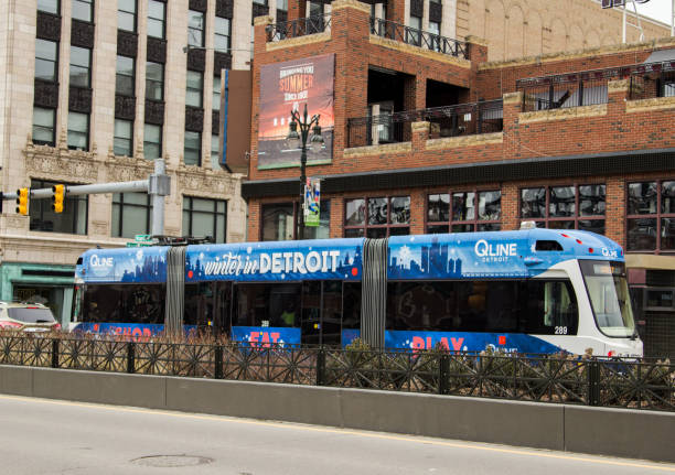 The Q Line Streetcar On Woodward Avenue In Detroit Michigan stock photo