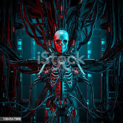 3D illustration of science fiction human android gamer skeleton hardwired to computer core