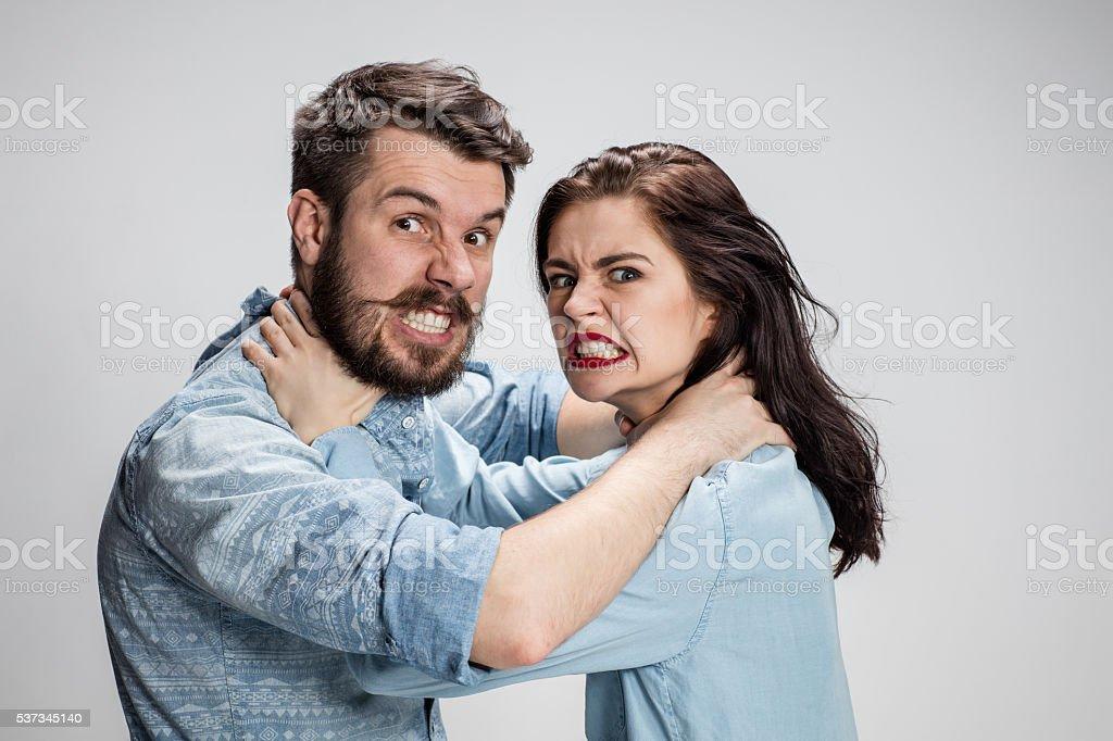 The quarrel men and women. stock photo