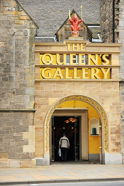 The Queen's Gallery Edinburgh, Scotland - July 19, 2011: The entrance to The Queen's Gallery photographed from the foot of the Royal Mile outside the Scottish Parliament. The Queen's Gallery which hosts a programme of changing exhibitions from the Royal Collection was opened by Her Majesty on 29 November 2002 as part of the Golden Jubilee celebrations. johnfscott stock pictures, royalty-free photos & images