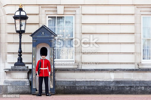 London: The Coldstream Guard outside Buckingham Palace standing guard early in the day just before the changing of the guards