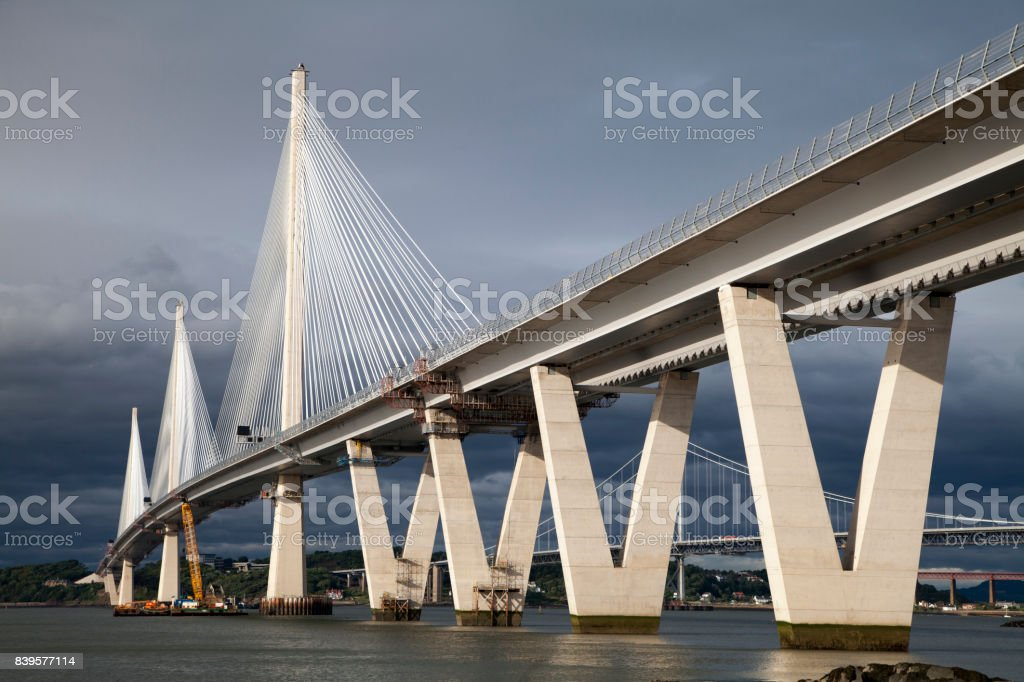 The Queensferry Crossing over the Firth of Forth near Edinburgh, Scotland stock photo