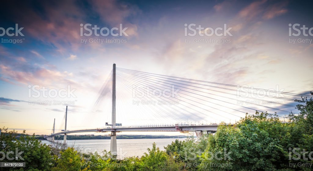 The Queensferry Crossing over the Firth of Forth stock photo