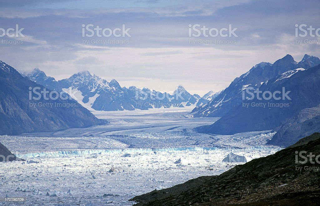 The quick retreating Midgard glacier. East Greenland royalty-free stock photo