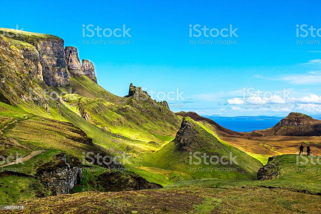 The Quiraing on Isle of Skye stock photo