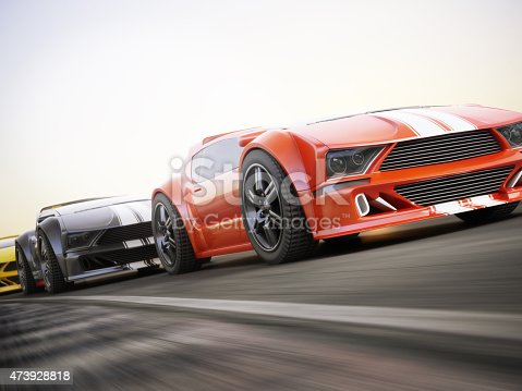 Exotic sports cars racing with motion blur . Generic custom photo realistic 3d rendering