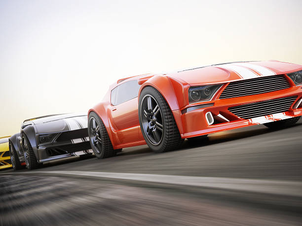 The race Exotic sports cars racing with motion blur . Generic custom photo realistic 3d rendering exoticism stock pictures, royalty-free photos & images