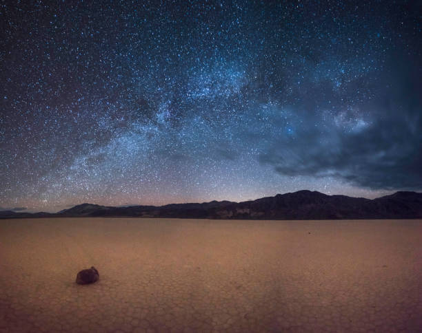The Racetrack Playa in Death Valley National Park under stars Dawn, Dusk, Night - Dawn, National Park, California mojave desert stock pictures, royalty-free photos & images