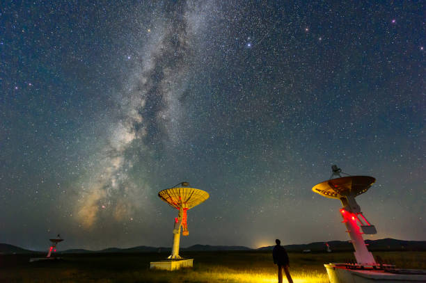 The radio spectrum imager array under the Milky Way Galaxy stock photo