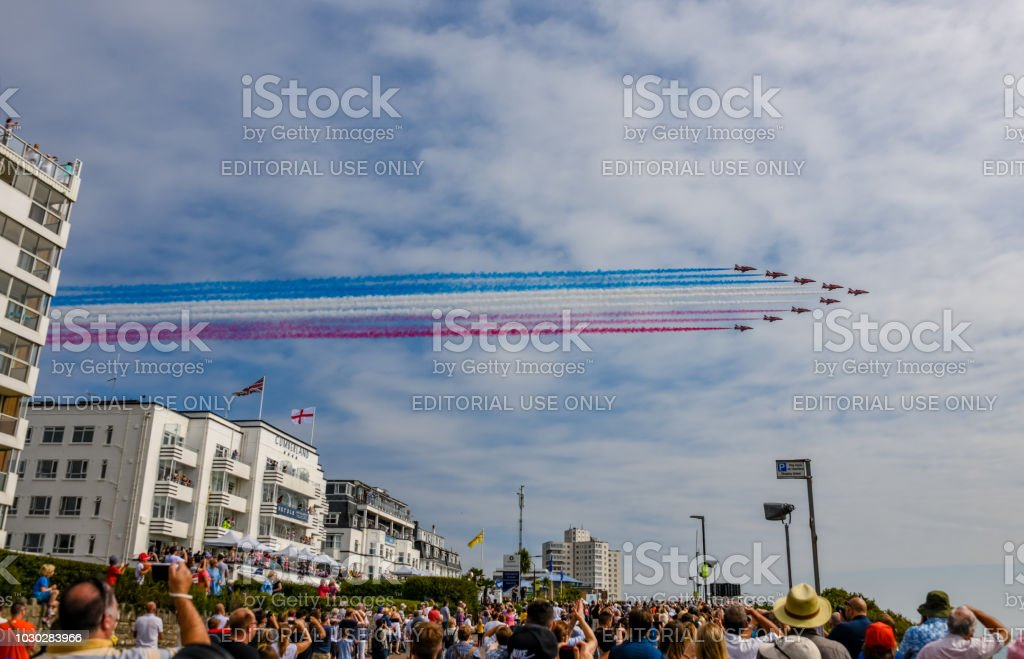 The RAF Red Arrows over a hotel at the Bournemouth Air Festival stock photo