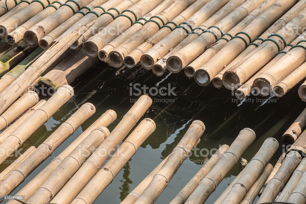 The raft made of bamboo stock photo