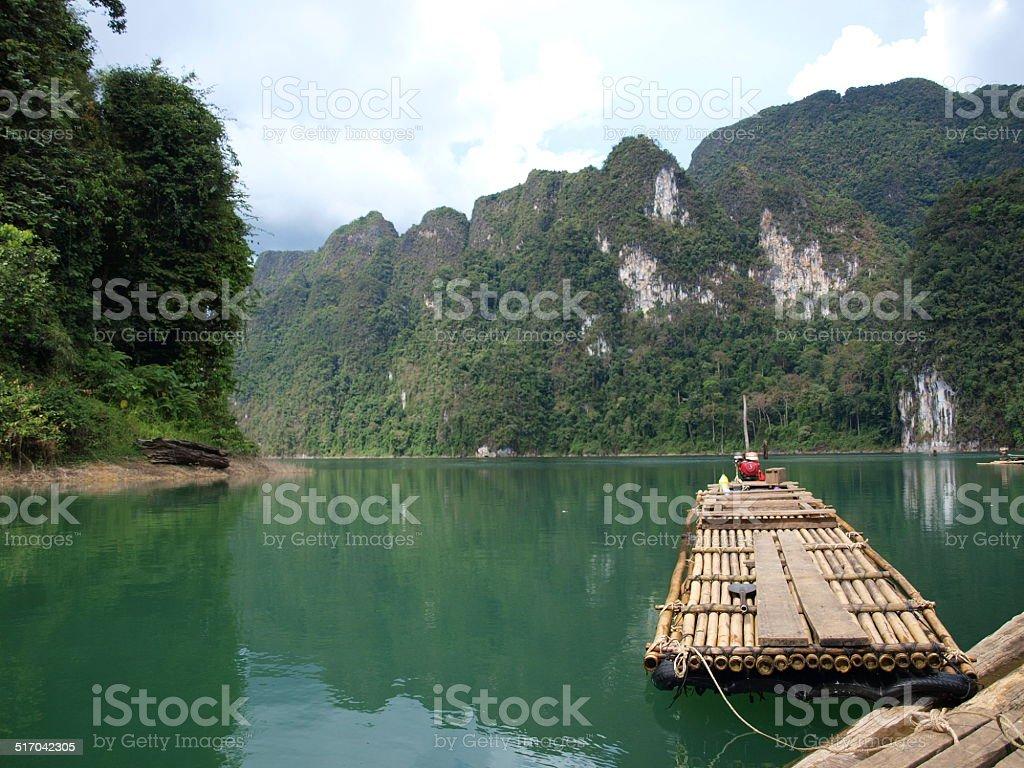The raft on Chiew Lan lake, Thailand stock photo