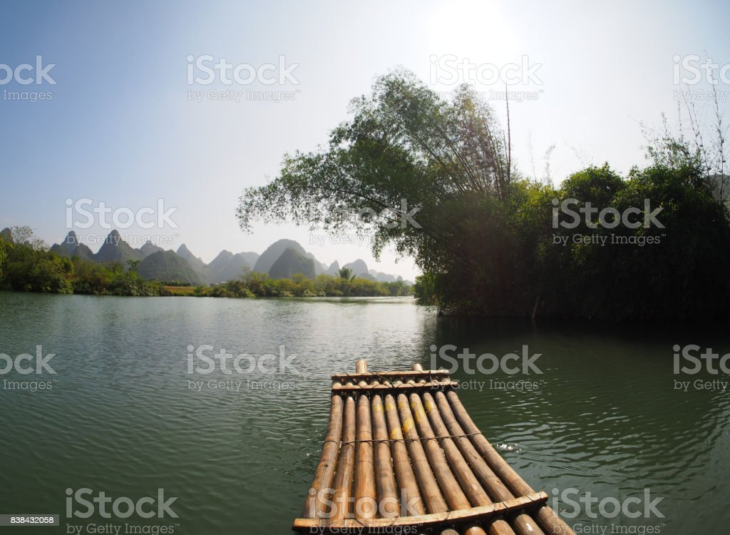 The rafts floating on the Yulong river stock photo