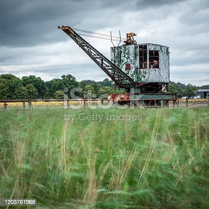The rail mounted crane on the  old Admiralty pier at Bandeath Munitions Depot which was established in the First World War.