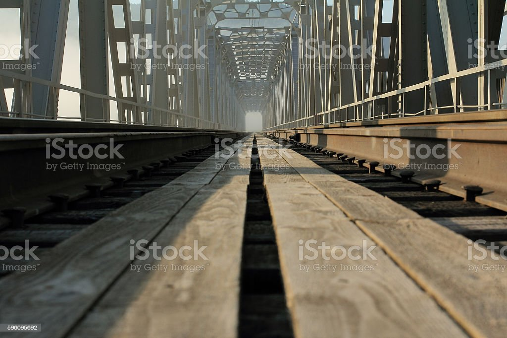 The railroad through the river. Железная дорога через реку. stock photo