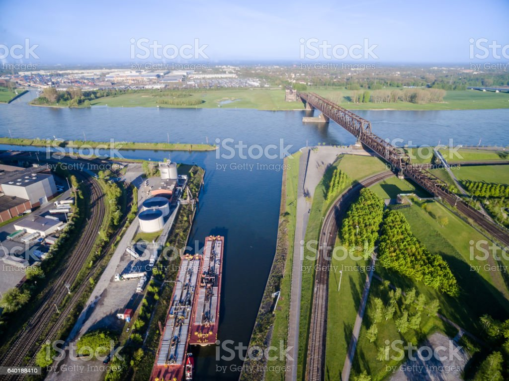 The Railway bridge in Duisburg Hochfeld stock photo