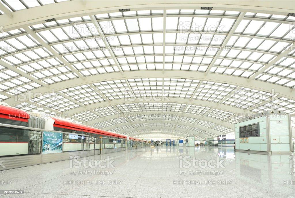 The railway station of Beijing Captial International Airport stock photo