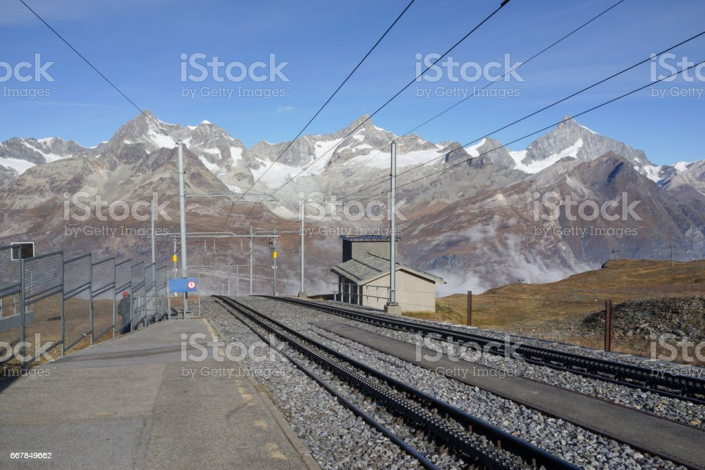 The railway with mountain background, Zermatt Switzerland stock photo