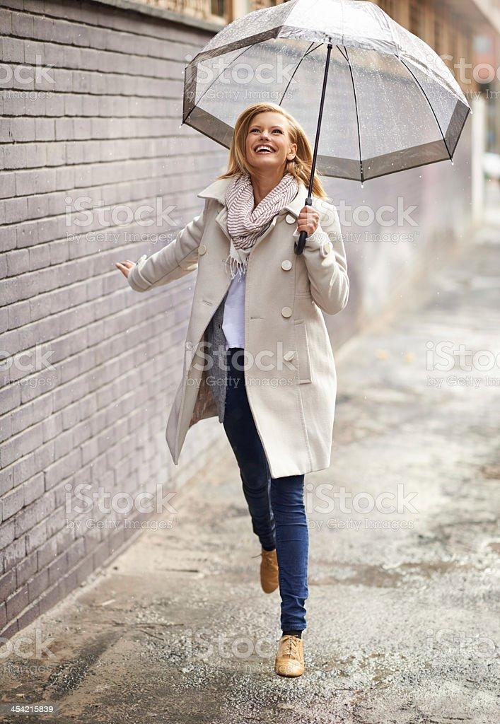 The rain makes me feel free! stock photo