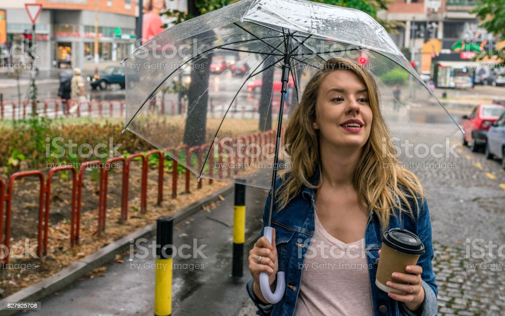 The rain never bothered her anyway stock photo