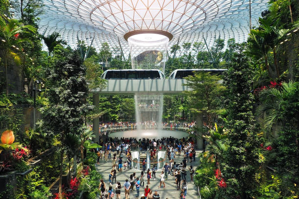 the rain vortex, a 40m-tall indoor waterfall located inside the jewal changi airport in singapore - singapore nature stock photos and pictures