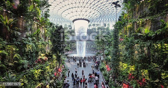 Jewel Changi Airport, Singapore - 5th August, 2019: Visitors tour around the Rain Vortex inside the Jewel area at Changi Airport. It's the world's tallest waterfall at 130 ft in height and surrounded by a four-storey terraced forest. The Jewel complex and waterfall was designed by Moshe Safdie.