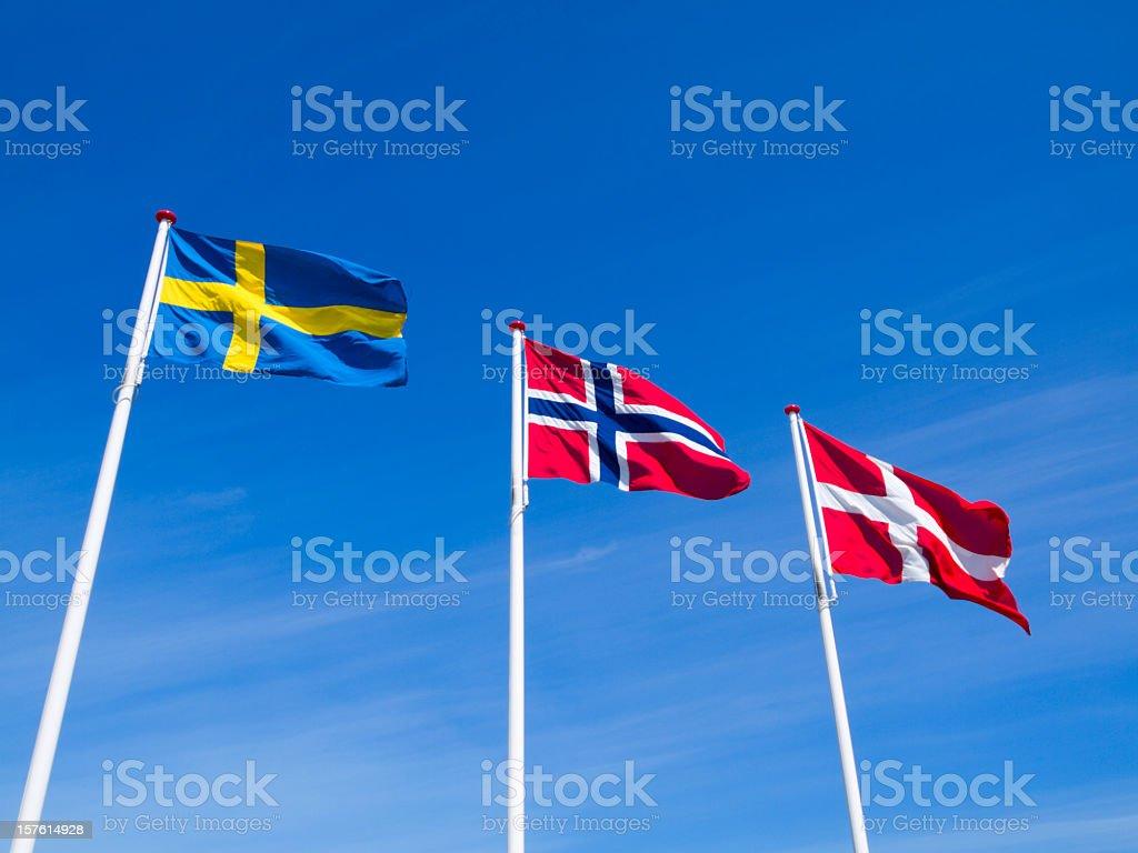 Banderas de Suecia, Noruega y Dinamarca - foto de stock