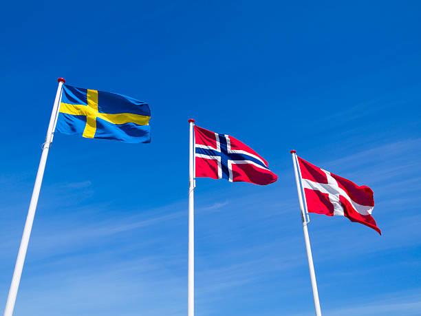 die flaggen von schweden, norwegen und dänemark - norwegen fahne stock-fotos und bilder