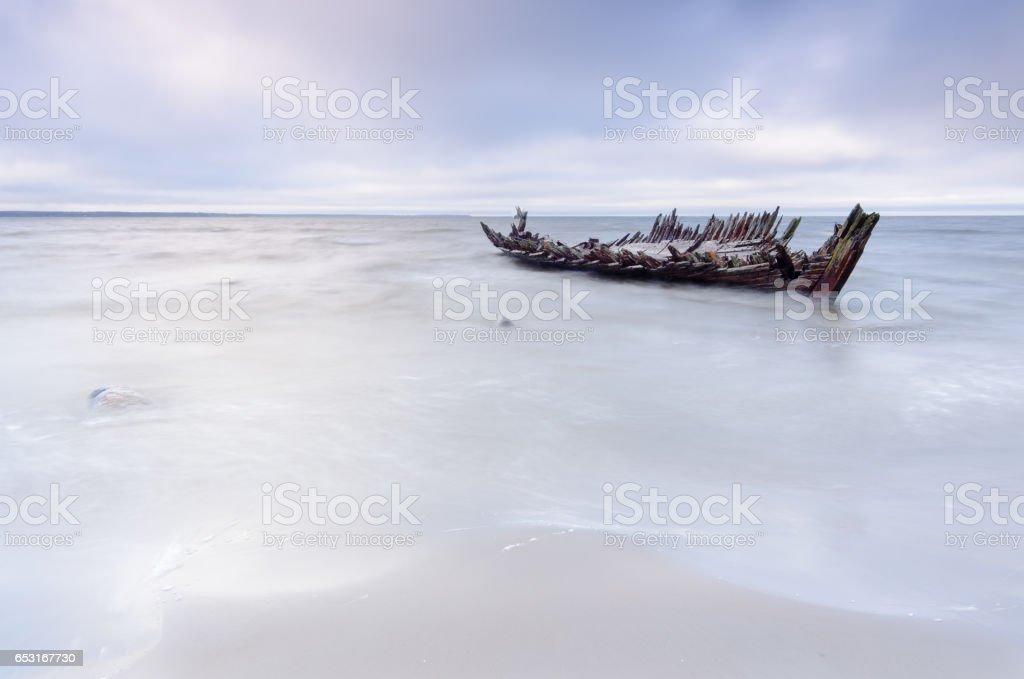 The 'Raketa' ship wreck on the Loksa beach in Estonia. stock photo