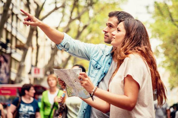 The Ramblas Tourist Couple Sightseeing in Barcelona