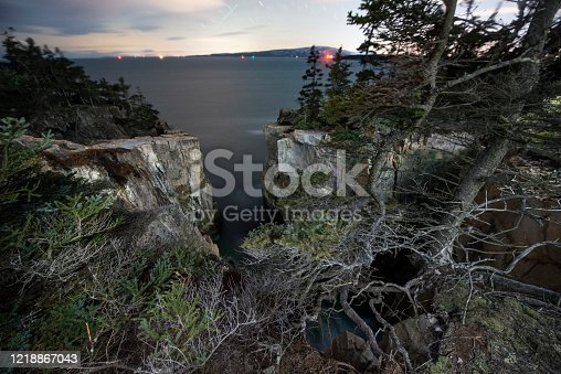 The Raven's Nest, rugged Maine Coastline in Acadia N.P. in Bar Harbor, ME, United States